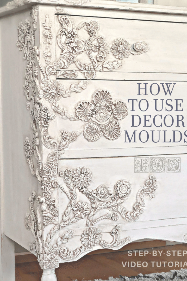 DIY furniture hack inspired by Anthropologie. You'll have to pick your jaw up off the floor with this step by step video tutorial by @debisdesigndiary where she shows you how to use IOD Decor Moulds to completely transform a plain old dresser. #videotutorial #anthropologie #furniturepaint #paintedfurniture #ioddecormoulds