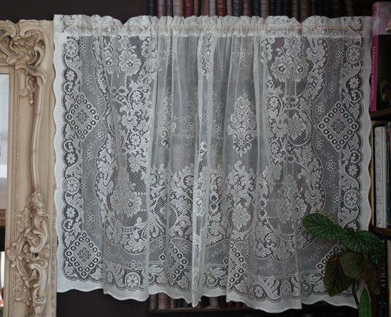 Beautiful Victorian Design Cotton Lace Curtain Panel 58 X 36