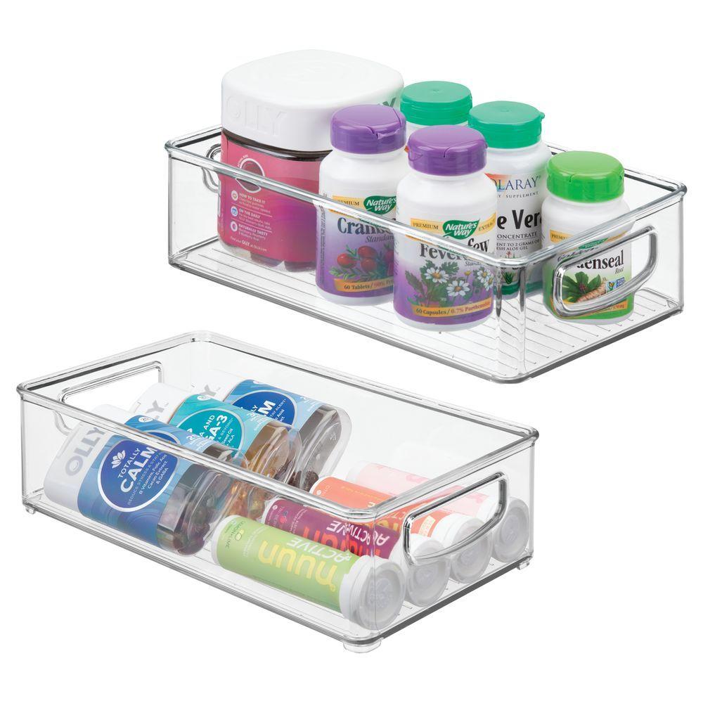 Medium Plastic Bathroom Storage Bin For Vitamins 10 X 6 X 3 Storage Bins Plastic Storage Bathroom Storage