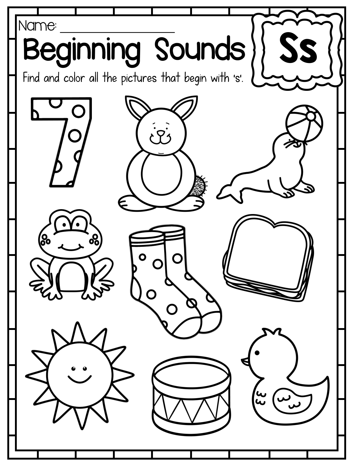 Beginning Sounds Worksheets - Color by Sound   Literacy ...