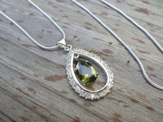 Peridot Sterling Silver Pendant  w// Snake Chain Necklace