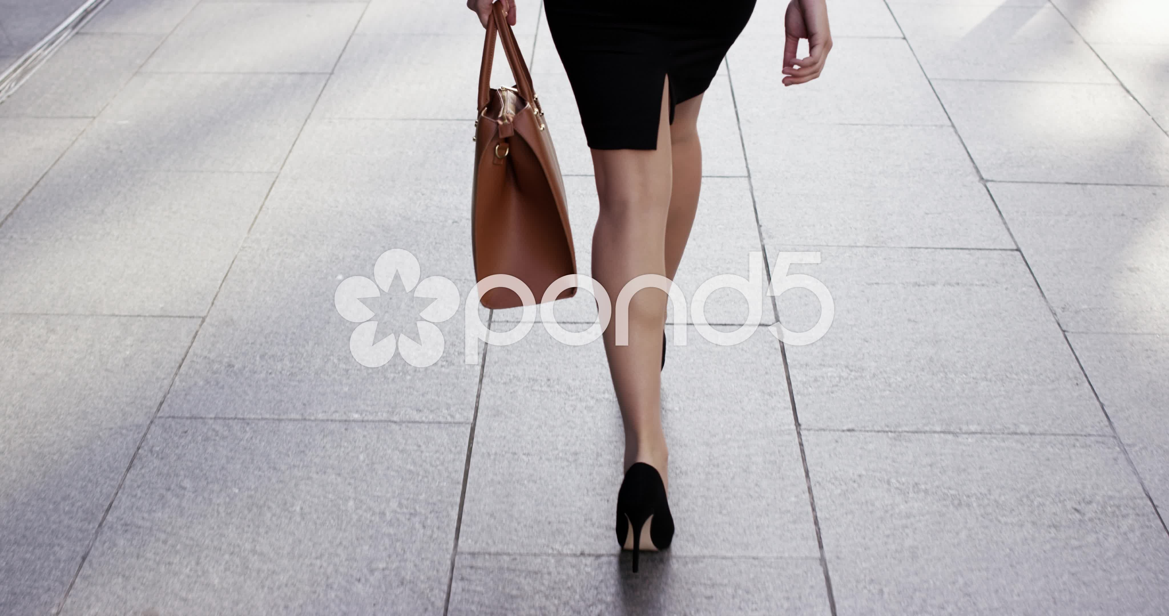 Attractive Business Woman Commuter Sexy Legs Walking City Street Stock Footagecommutersexy
