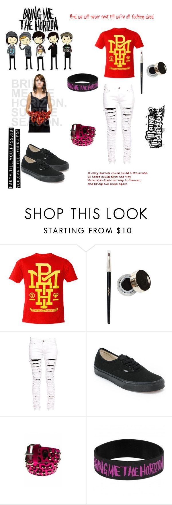 """""""BMTH!! <33"""" by gee-way-3-way ❤ liked on Polyvore featuring L'Oréal Paris, Boohoo, Vans, yolo, scene, aww, woofuckinghoo and rockband"""
