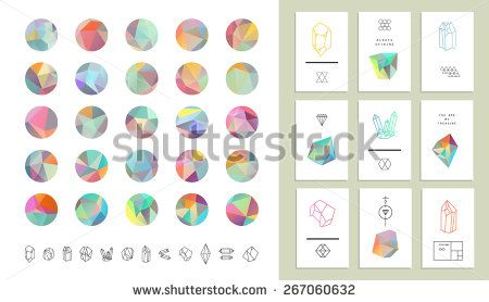 Set of colored crystal circles in polygon style with geometric shapes.Trendy hipster retro backgrounds and logotypes plus collection of cards. - stock vector