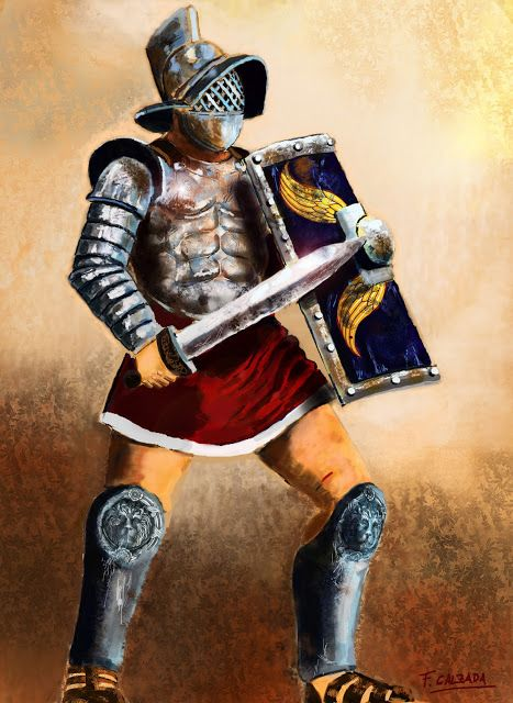 Murmillo Gladiator . Illustration by Fernando Calzada