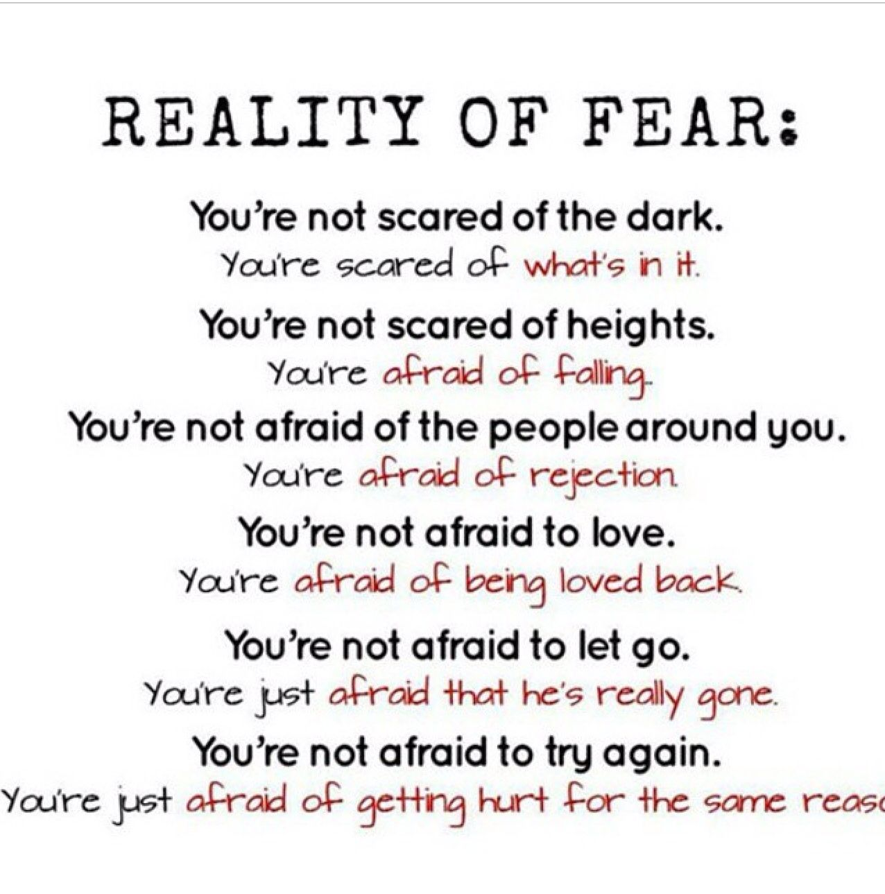 Reality Of Fear Fear Quotes Funny Reading Quotes Good Life Quotes