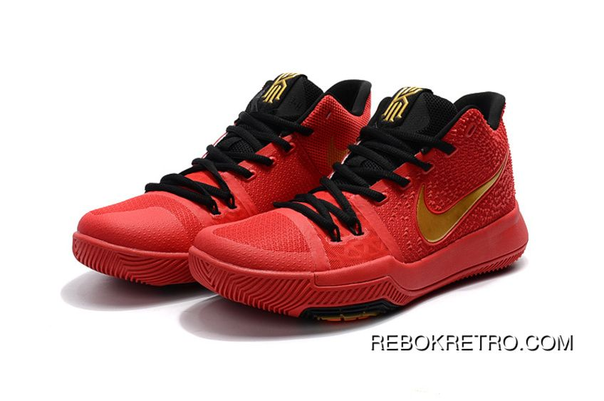 new products f9c15 de236 Girls Nike Kyrie 3 Red Black Gold New Year Deals | nike ...