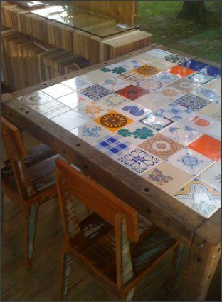 Resultado de imagen para mesa azulejos mesas de jard n - Mesas de azulejos ...
