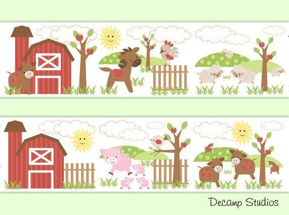 Farm Animal Nursery Wallpaper Border Baby Boy Wall Art Decals Kids Barnyard Room Stickers Decor Pony Nursery Wallpaper Border Baby Boys Wall Art Boy Wall Art