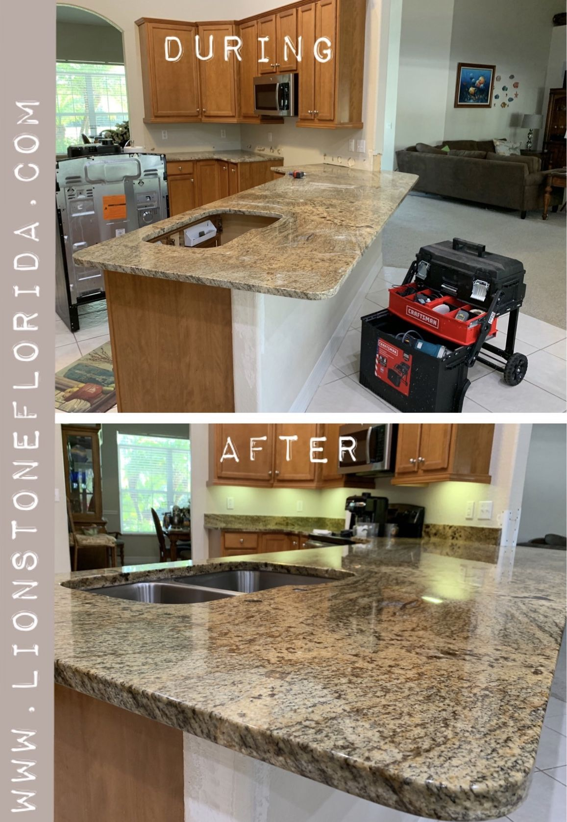 During The Process Of Granite Countertop Installation And After Completion Lions How To Install Countertops Installing Granite Countertops Granite Countertops