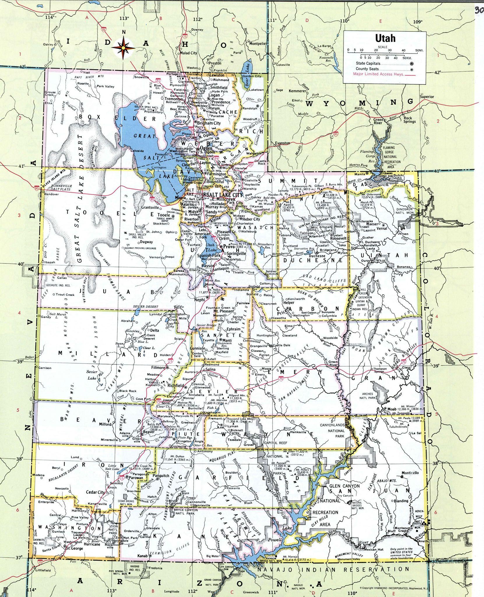 Paradise Utah Map.Map Of Utah Utah Utah Map State Map