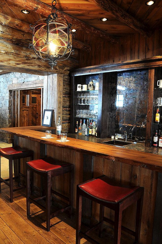 Metro Rustic Home Bar Inspiration With Bar Ceiling Lighting