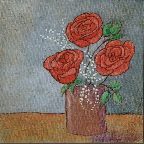 Roses in a Vase Original Folk Art Canvas Painting   Etsy   Canvas art painting, Canvas painting ...