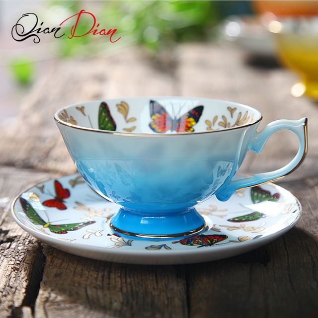 240 ml Butterfly design Bone China Coffee Tea cup and saucer  Gilt Luxurious British Black Tea Cup