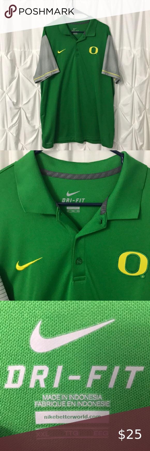 Nike Dri Fit Golf Polo Oregon Ducks Green Gray Euc Unique Shirt Golf Shirts Striped Sleeve [ 1740 x 580 Pixel ]