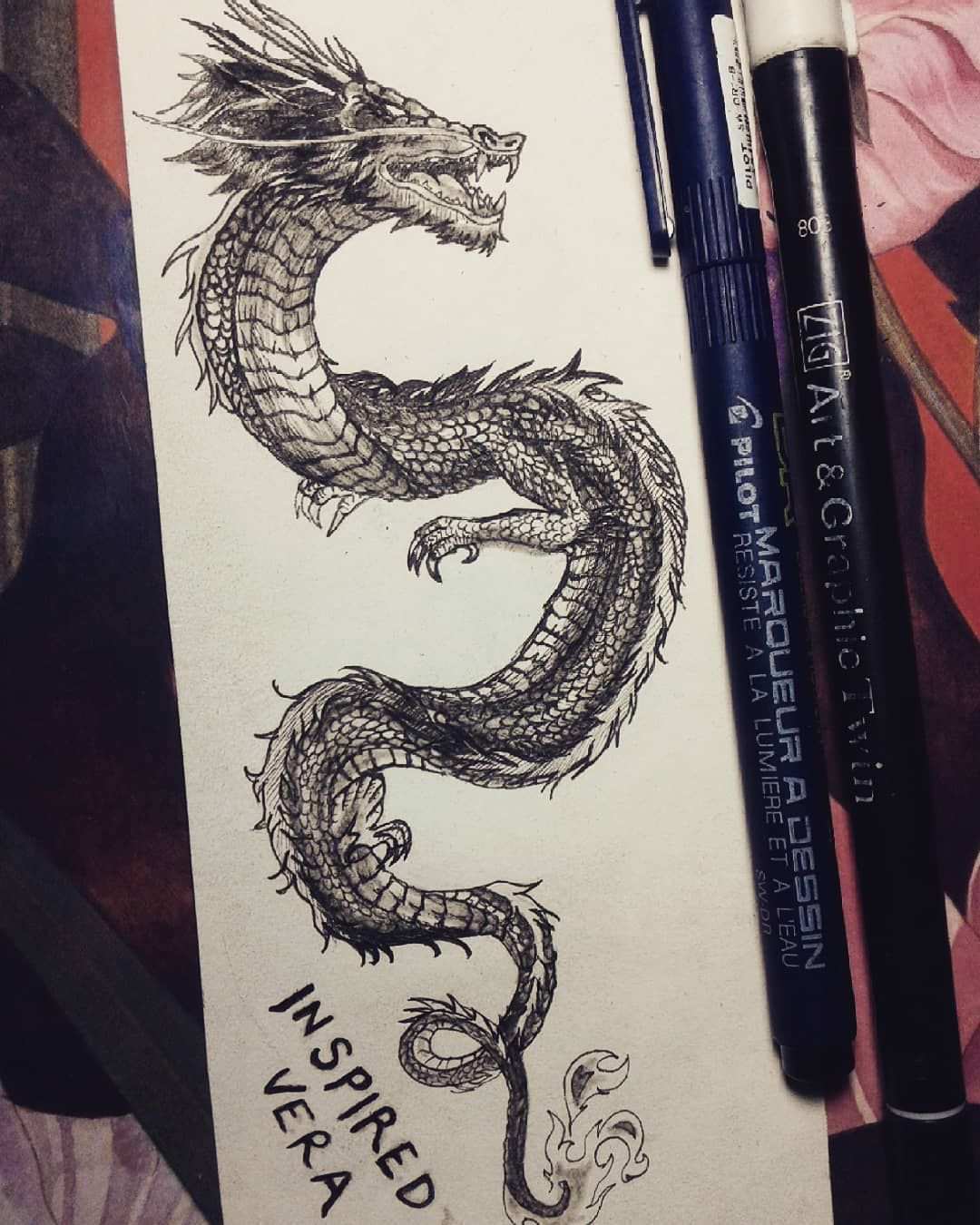 "vera on Instagram: ""Chinese Dragon . . . . . . . . #draw #photooftheday #drawing #drawingoftheday #inspiredvera #pilot #art #sketch #sketching #inspiredvera…"""