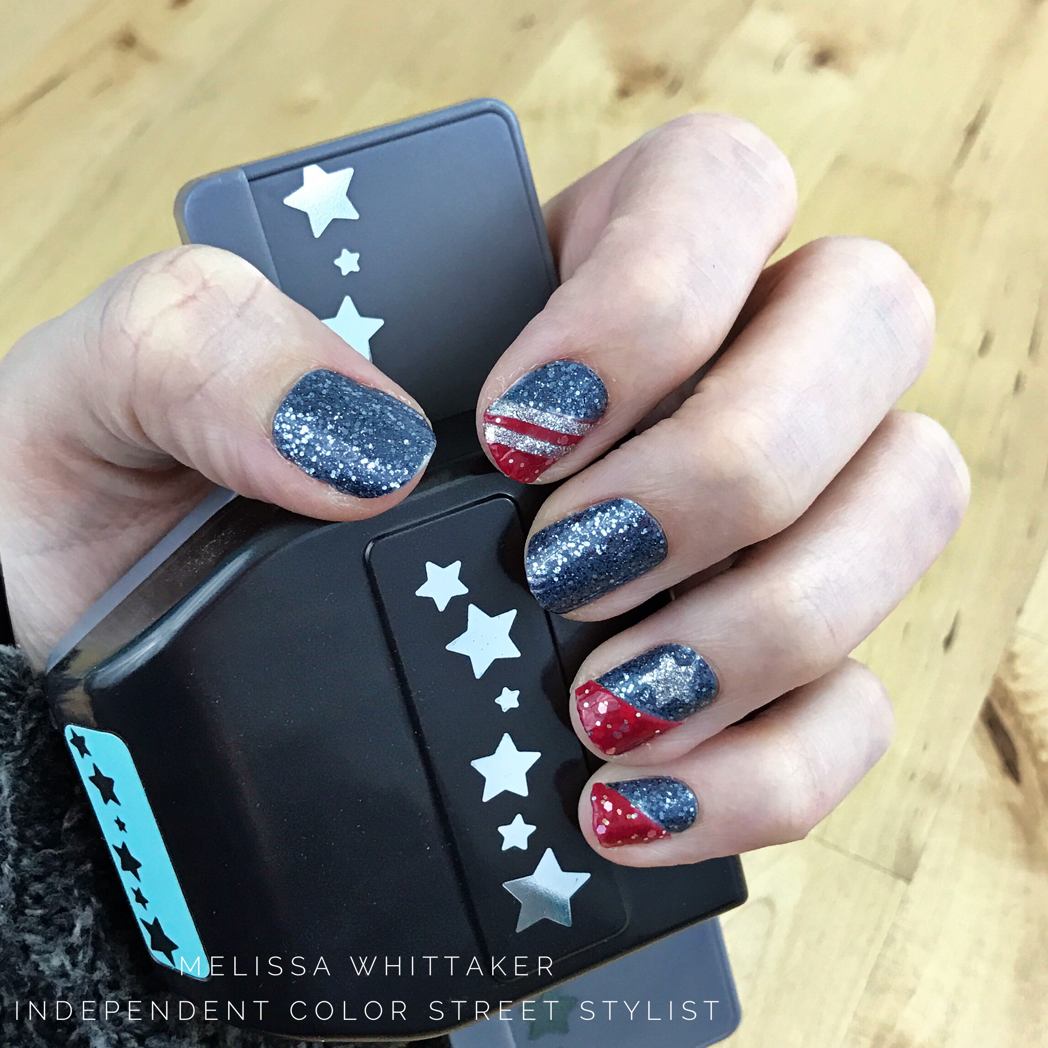Patriots Inspired Nails Using Color Street Nail Polish Strips Colorstreet Colorstreetnails Patriotsna Color Street Nails Patriotic Nails Nail Polish Strips