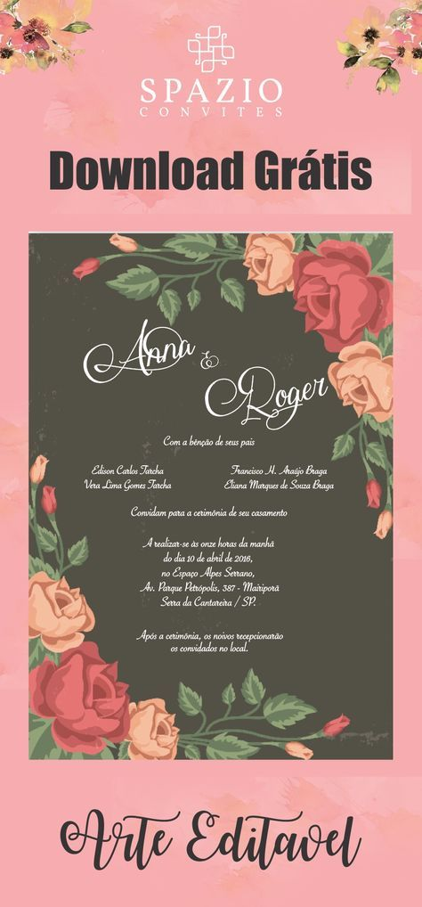 Arte Floral Para Convite De Casamento Spazio Convites Downloads