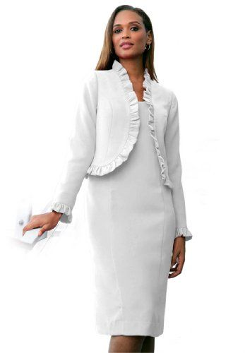 Jessica London Women S Plus Size 2 Piece Ruffle Jacket Dress White