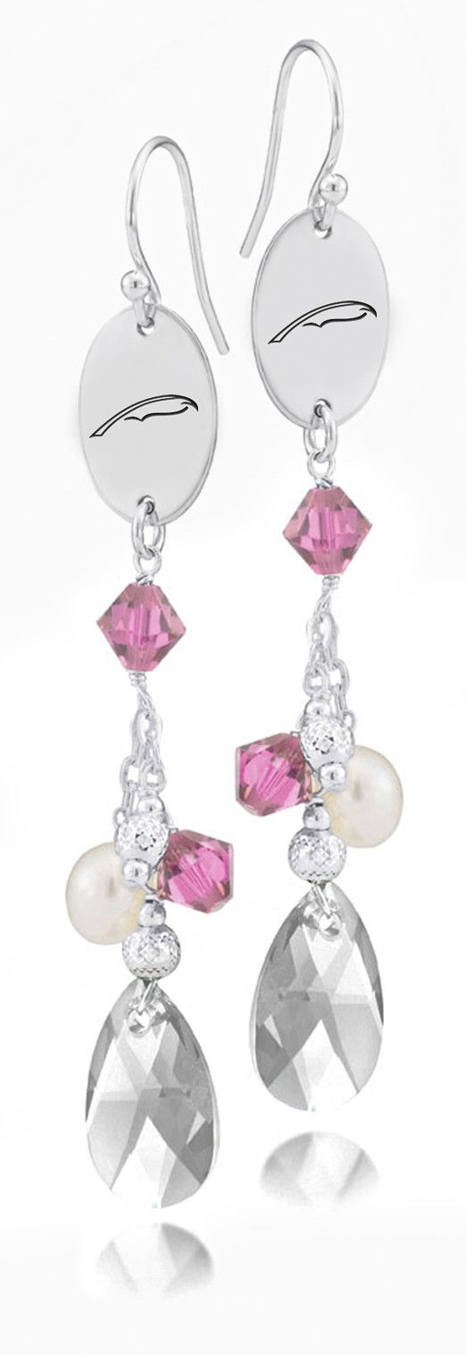 Alpha Xi Delta Symbol Pink Crystal And Freshwater Pearl Earrings