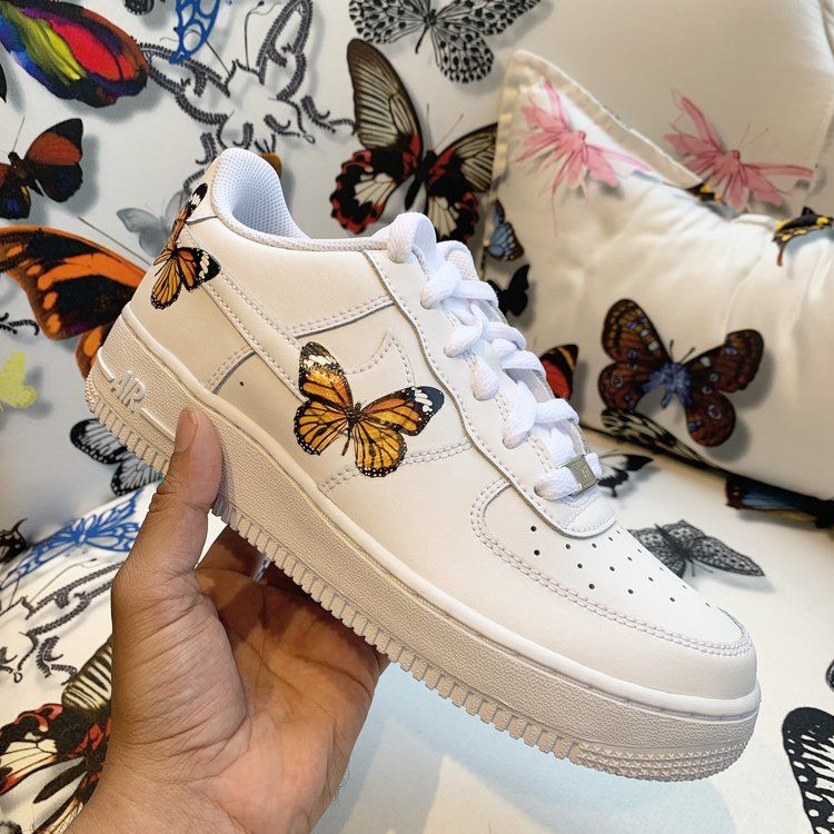 Orange HD Clear Butterfly Air Force 1 in 2020 Nike shoes