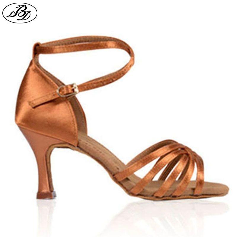 8b90910b6a Dancesport Shoes BD 211 Women Latin Dance Satin Shoes Dark Tan High ...