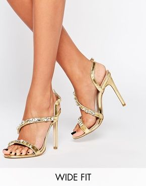 Buy Women Shoes / Asos Hyped Up Wide Fit Heeled Sandals