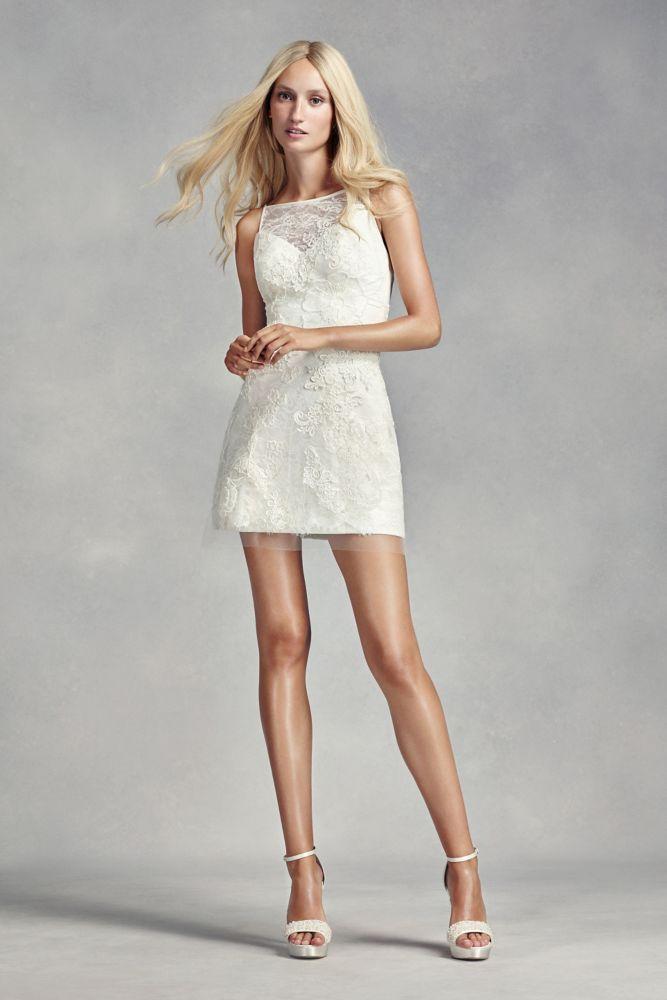 Fresh White by Vera Wang Short Lace Wedding Dress Ivory