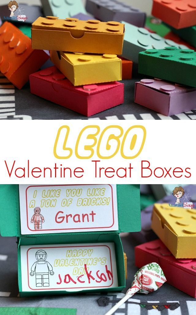 These Lego Valentine treat boxes are just