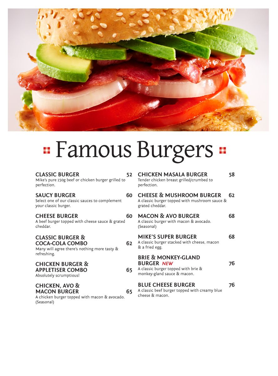 Famous Burgers Halaal | Mike\'s Kitchen Halaal Menu - Currently only ...
