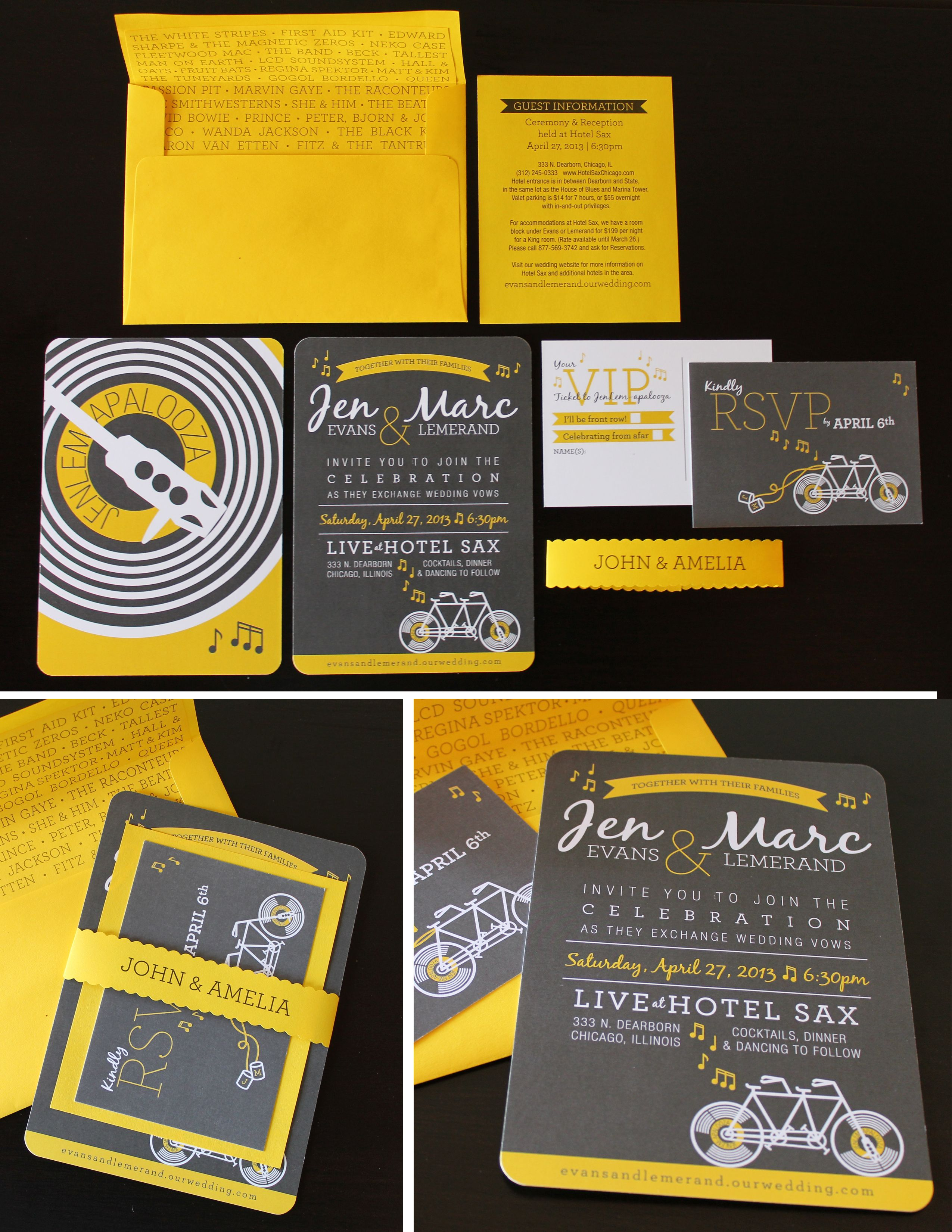 Yellow and Grey Music Festival wedding, Tandem Bike Wedding Invitation by Upside-Down Glasses Design
