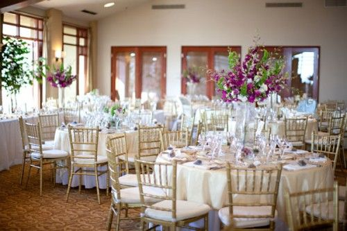 Purple White And Gold Wedding Reception Decor Might Add A Little More Natural