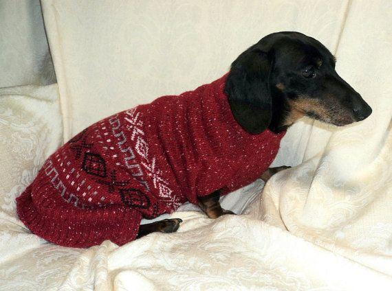 Red Christmas Dachshund Sweater Soft Warm Wool By Warmweenies