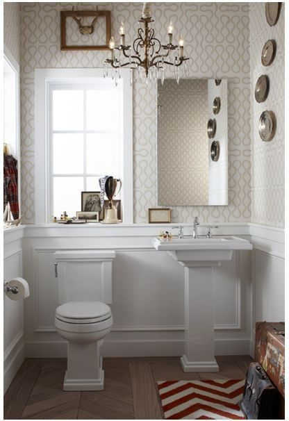 I Love This Paper And Thoughts Of Framing A Little Antler In A Fancy Frame Dig Bathroom Trends Powder Room Design Powder Room Small