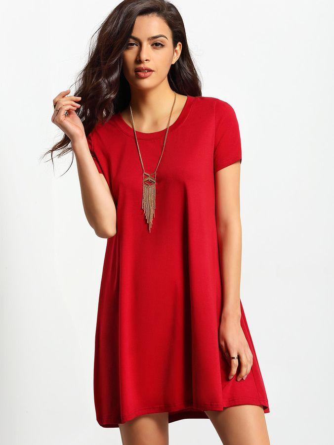 Rode Basic Jurk.Burgundy Short Sleeve Casual Shift Dress Products Jurken Rode