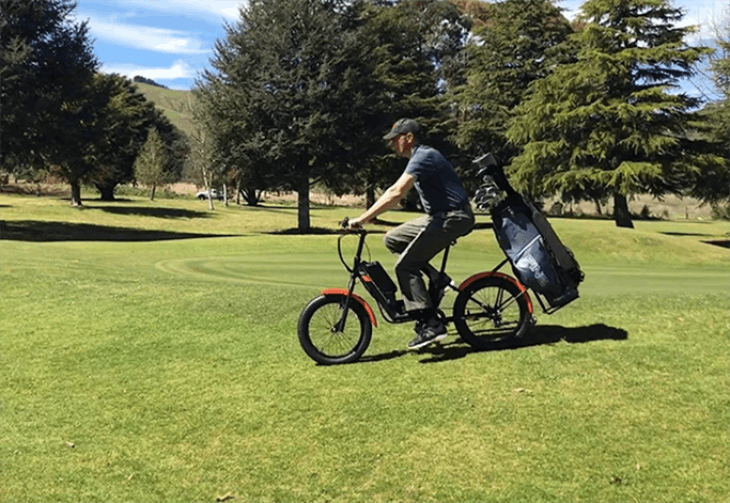 love it apparently cycling is the new golf but this is halfway compromise. awesome.