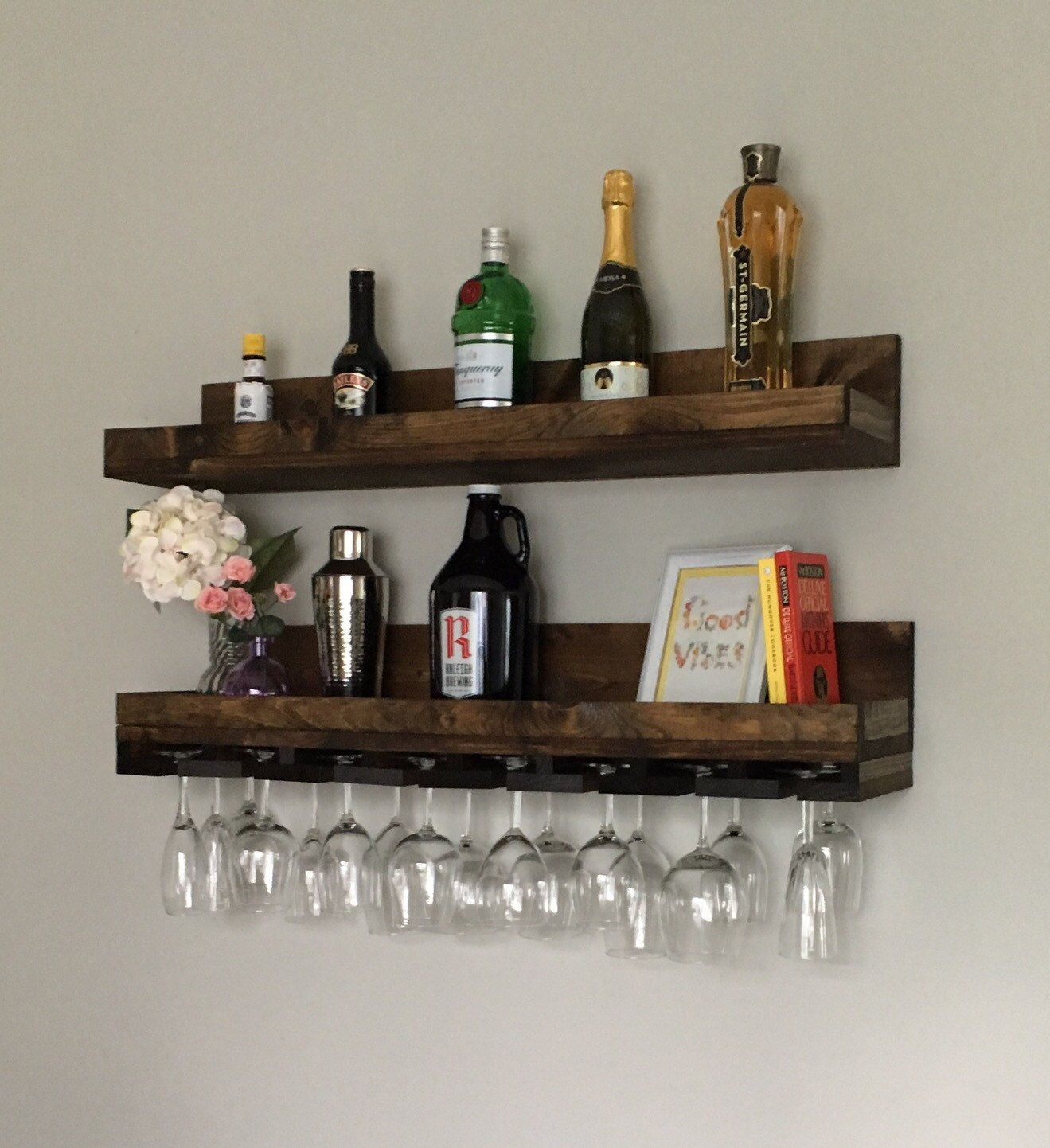 hanging kitchen shelves corner sink cabinet 36 quot long rustic wood wine rack shelf and