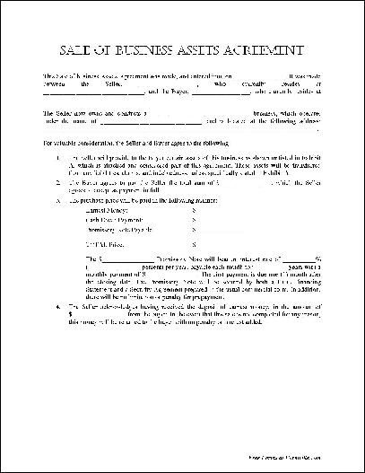 High Quality Free Basic Sale Of Business Assets Agreement From Formville   Business  Contract Forms  Business Sale Contract Template