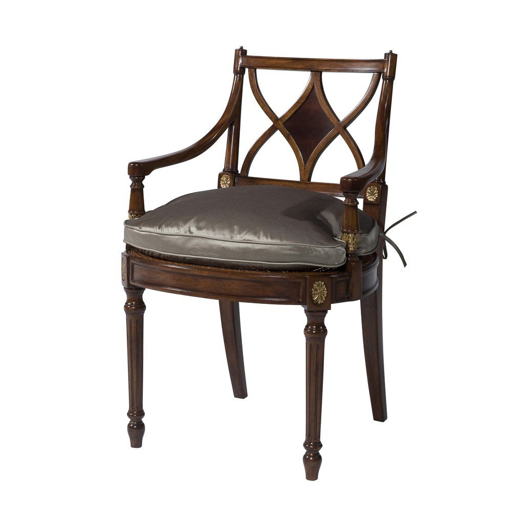 Thomas sheraton chair - A Carved And Gilt Armchair The Rectangular X Back With A Mahogany Panel