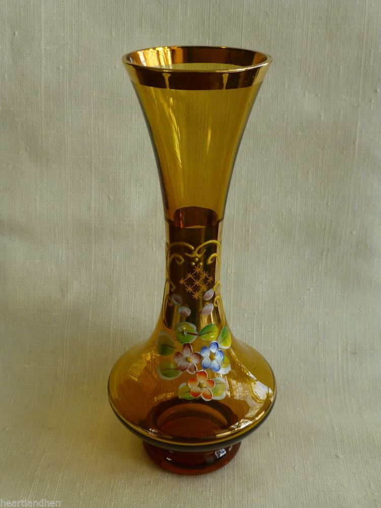 Fenton Basket Gold/Amber Glass Vase Hand Painted Artist