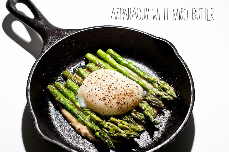 Pan-fried asparagus with miso butter and a poached egg.