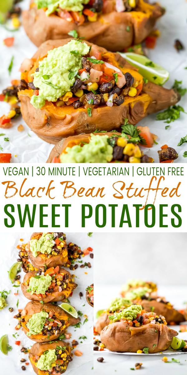 Vegan Black Bean Stuffed Sweet Potatoes | Easy Stuffed Sweet Potatoes