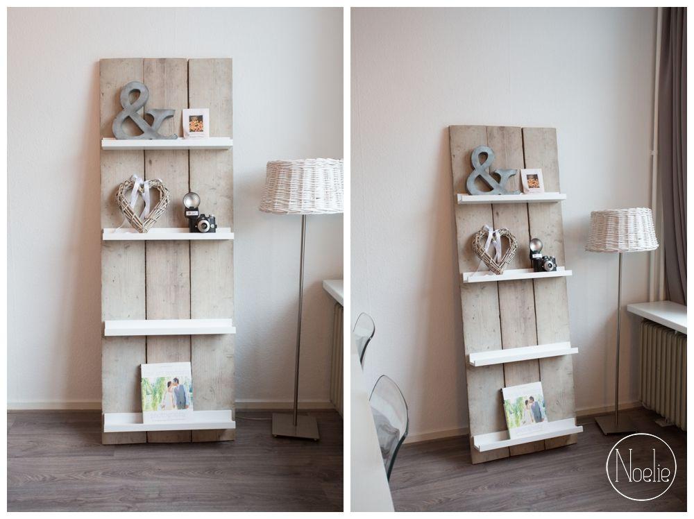 Tijdschriftenrek wandrek van steigerhout leuk for Interieur decoratie winkels