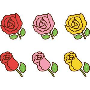 フリーイラスト ベクター画像 Ai 植物 花 薔薇バラ 赤色の花