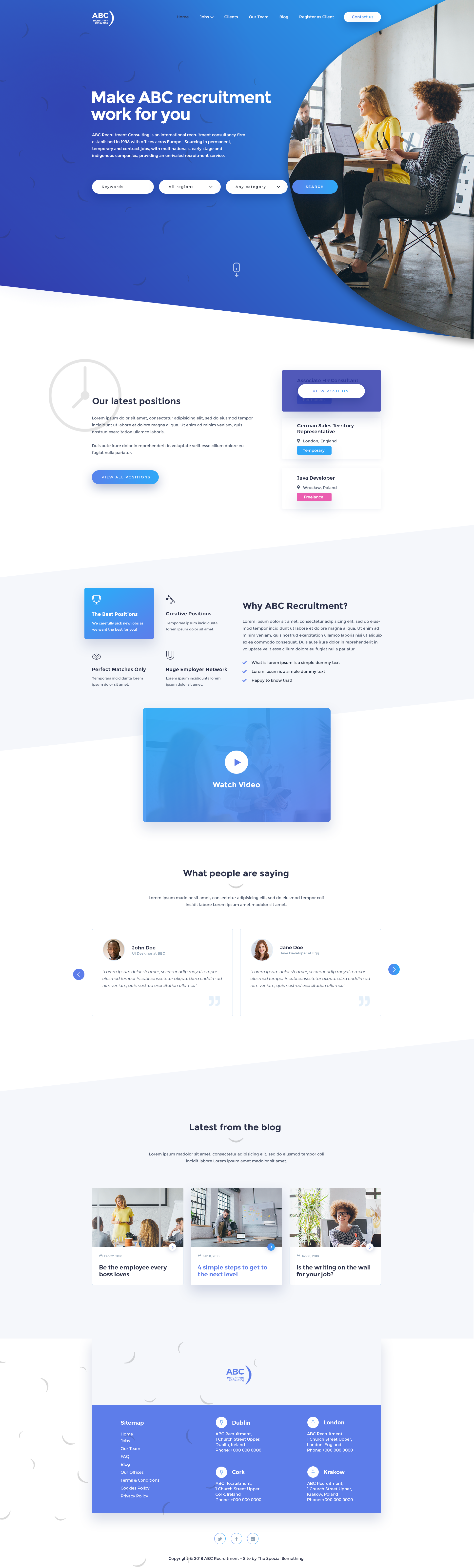 Recruitment Agency Design Concept 4 Full Design Recruitment Website Design Design Agency Web App Design