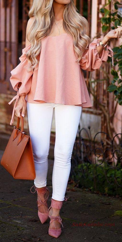 2019 Bayan İlkbahar Yaz Kombinleri Beyaz Kot Pantolon Pudra Omzu Açık Uzun Kollu Bluz Pembe Stiletto Ayakkabı