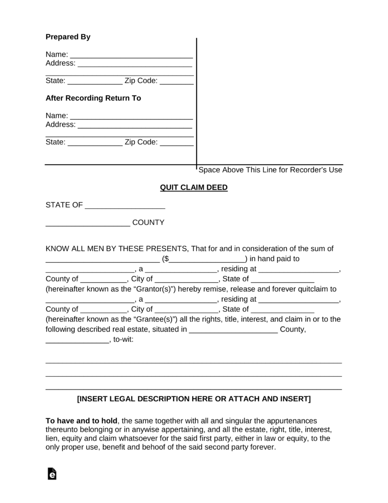 quick claim deed form for florida  Free Quit Claim Deed Forms - PDF | Word | eForms – Free ...