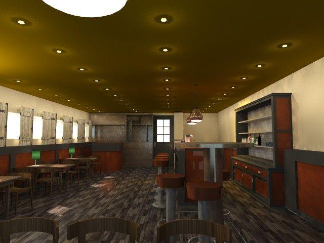 Voorstel proeflokaal 3d render interieur en kleur for Buro interior