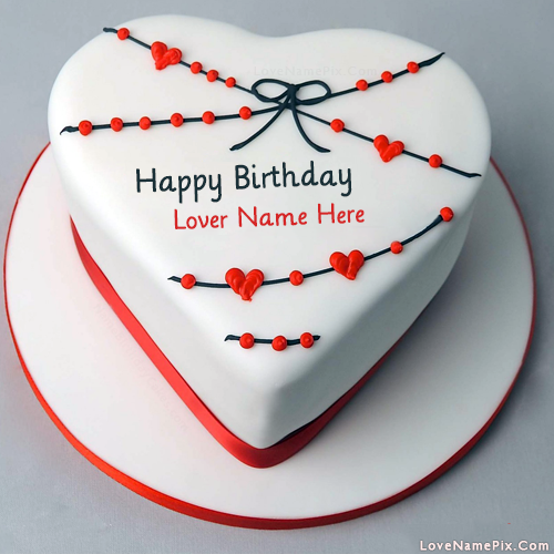 Red White Heart Birthday Cake With Name Photo
