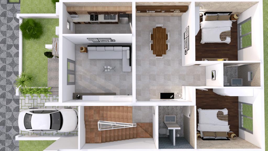 Interior Home Design Plan 9x12m 2 Bedrooms   Home design ...